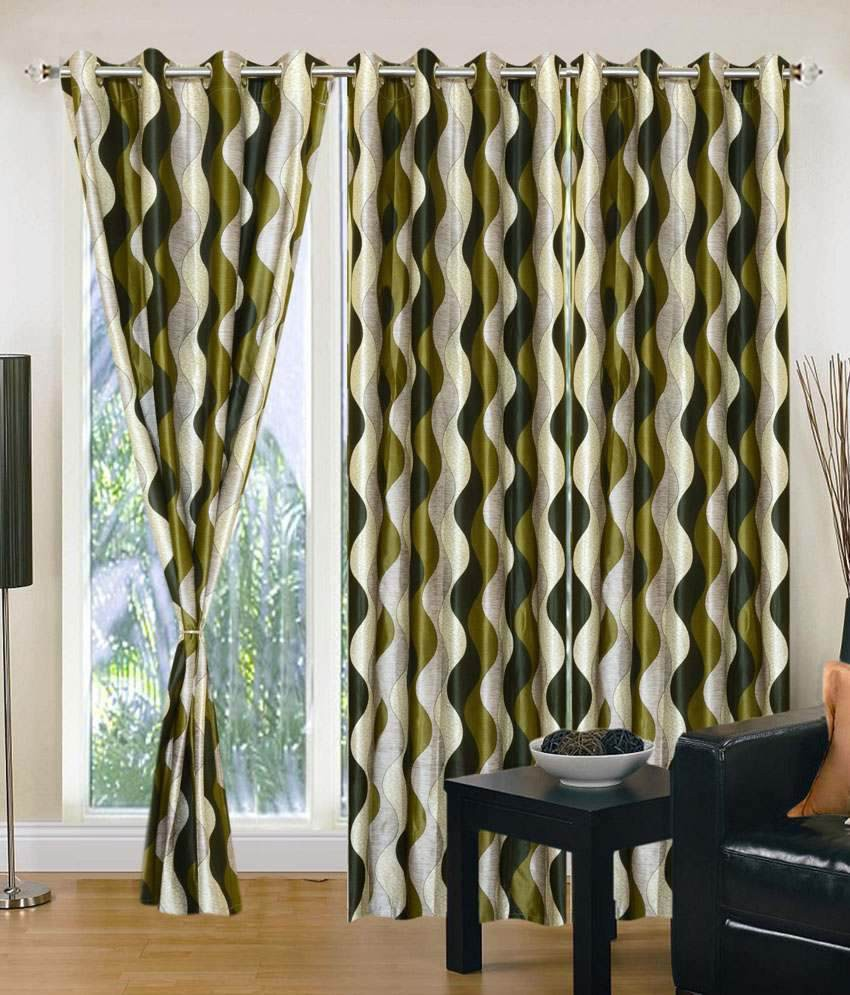 Optimistic Home Furnishing Polyester Green Striped Eyelet Door Curtain