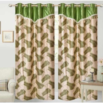 Qualityfab Polyester Green Printed Eyelet Door Curtain