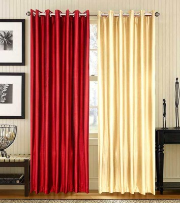 Home Fashion Gallery Polyester Maroon, Beige Plain Eyelet Window Curtain