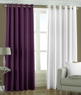 The Decor Hub Polyester Purple, White Plain Eyelet Door Curtain