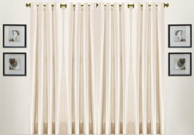 Thiwas Polyester Cream Solid Eyelet Door Curtain