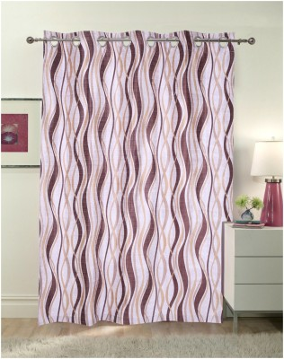 Luk Luck Home Polycotton Brown Printed Ring Rod Door Curtain