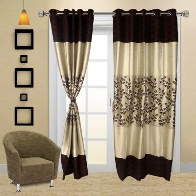I Catch Cotton BrownNDWhite_02_2 Floral Eyelet Door Curtain