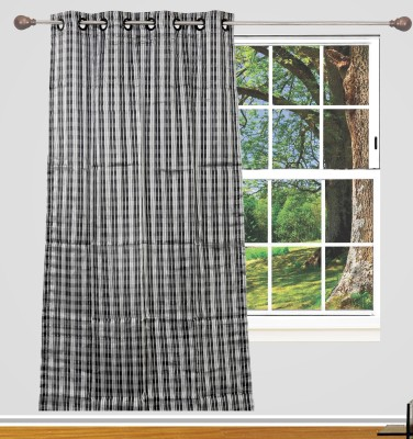 Edit One Polyester Black Striped Rod pocket Window & Door Curtain