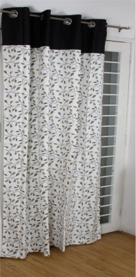 Thuhil Home Linen Cotton Black Floral Eyelet Door Curtain