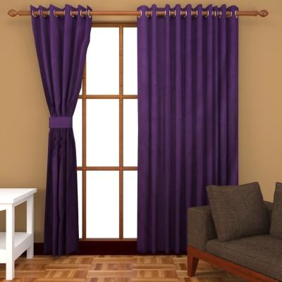 Panipat Textile Hub Polyester Purple Plain Eyelet Window Curtain