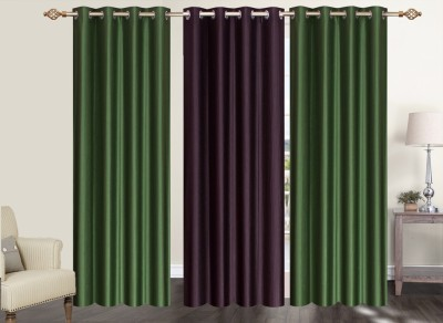 Furnishing Zone Polyester Green, Brown Plain Eyelet Long Door Curtain