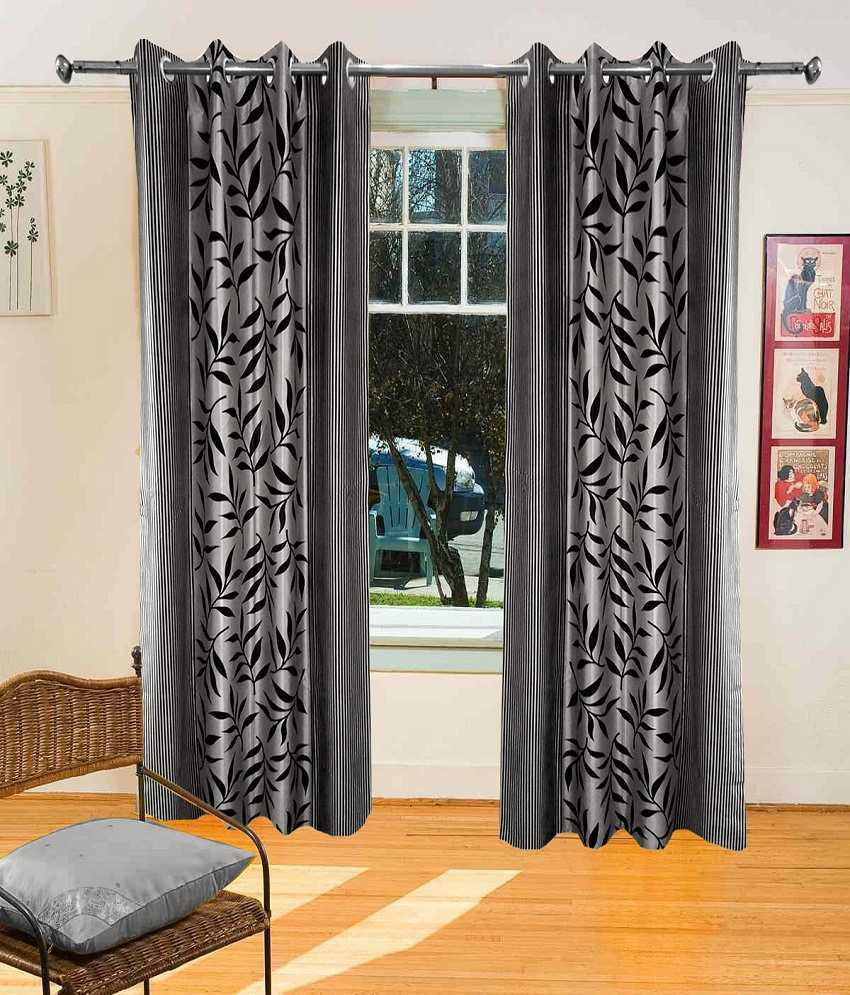 Sanaya Polycotton Grey Printed Eyelet Window Curtain class=