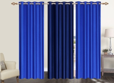 Furnishing Zone Polyester Blue Plain Eyelet Long Door Curtain