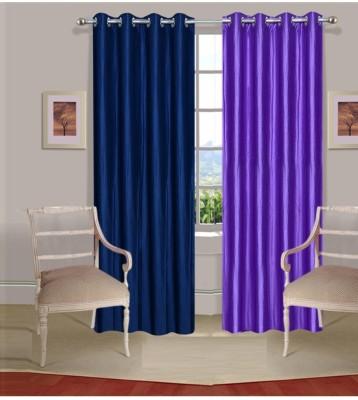 Fogg Polyester Blue, Purple Solid Tab Top Door Curtain