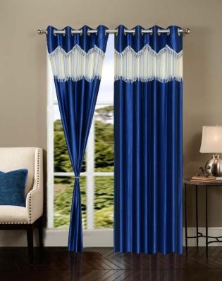 Maa Sharda Exports Polyester Dark Blue Self Design Eyelet Long Door Curtain
