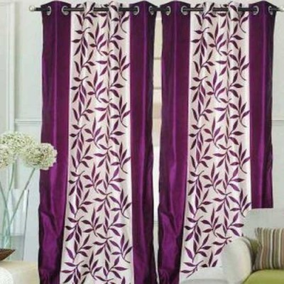 Qualityfab Polyester Wine Color Printed Eyelet Door Curtain
