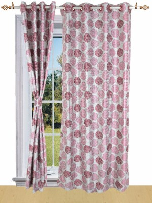 Shandar Curtains Polyester Maroon Floral Eyelet Window Curtain