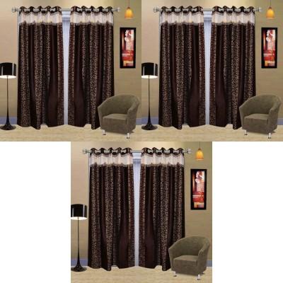 Go Decore PVC Brown Self Design Ring Rod Door Curtain