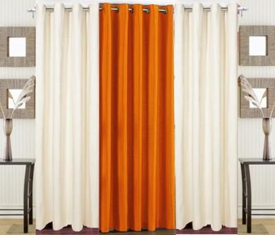 Pendu Art Polyester Orange, Cream Plain Eyelet Door Curtain