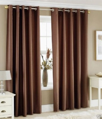 PHF Polyester Brown Plain Eyelet Window Curtain