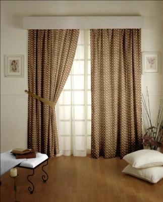 Dreamscape Blends Brown Geometric Eyelet Door Curtain