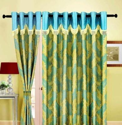 Maa Sharda Exports Polyester Green Floral Eyelet Window Curtain