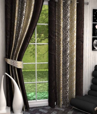 Click Weaves Polyester Brown Floral Eyelet Window & Door Curtain