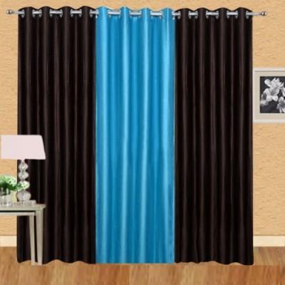 Shiv Shankar Handloom Polyester Brown, Sky Blue Crush Solid Eyelet Door Curtain