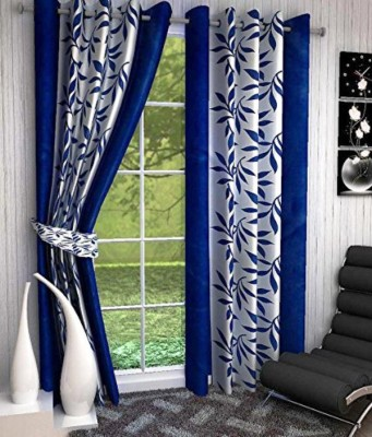 Anurag Traders Polyester Blue Floral Curtain Window & Door Curtain