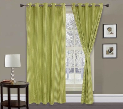Elan Cotton Green Striped Eyelet Window Curtain