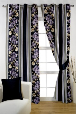HOMEC Polyester Multicolor Floral Eyelet Window & Door Curtain
