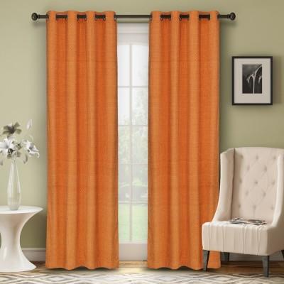 Soumya Polycotton Orange Plain Eyelet Door Curtain