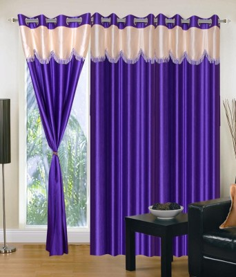 SKE Polyester Purple Plain Curtain Window Curtain