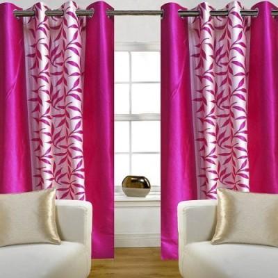 sajaawat Polyester Pink Floral Eyelet Long Door Curtain
