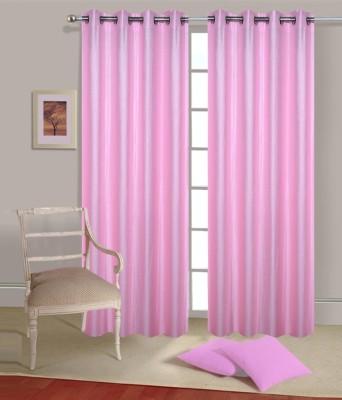 Fogg Polyester Pink Solid Eyelet Door Curtain