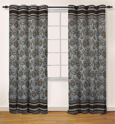 Oro Decor Polyester Coffee Liqueur Floral Eyelet Door Curtain