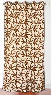 DRAPEZ Polyester Cream & Brown Floral Eyelet Door Curtain