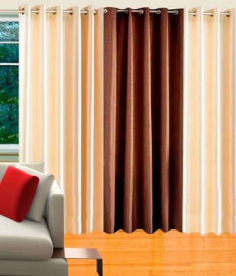 Hargunz Polycotton Beige, Brown Abstract Eyelet Long Door Curtain