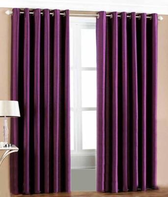 Ech Oly Polyester Purple Plain Eyelet Door Curtain
