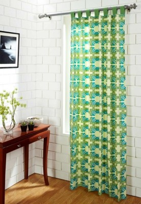 House This Cotton Blue, Green Motif Eyelet Door Curtain