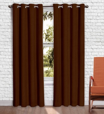 Story @ Home Jacquard Brown Printed Eyelet Window Curtain