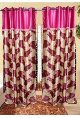 Swastik Polyester Pink Self Design Eyelet Long Door Curtain