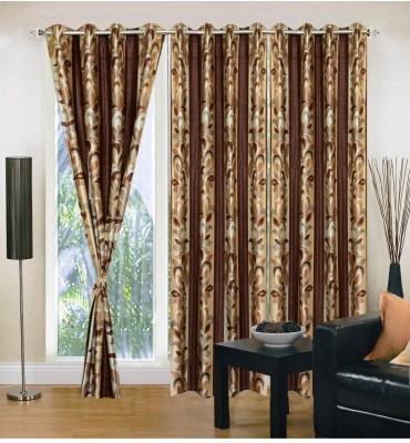 Fabbig Polyester Brown Printed Eyelet Door Curtain
