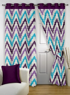 Story @ Home Polyester Purple Printed Eyelet Door Curtain