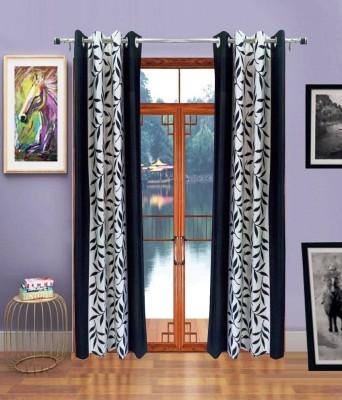 Sai Arpan Polyester Black Solid Eyelet Door Curtain