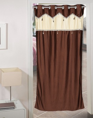 AJ Retails Polyester Bright Brown, Chic Beige Solid Eyelet Door Curtain