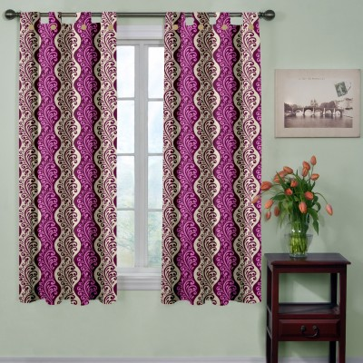 Trendy Home Polyester Pink Printed Tab Top Window Curtain