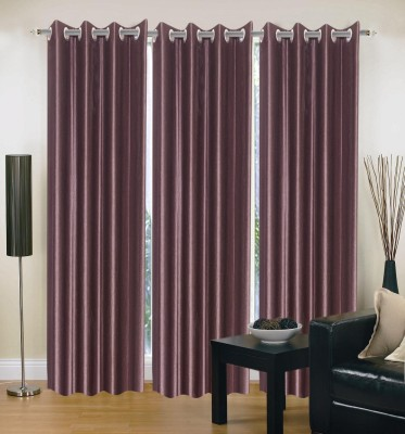 Home And Craft Polyester Purple Plain Eyelet Door Curtain