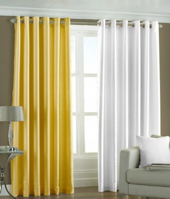 RK Home Furnishing Polyester Yellow, White Solid Eyelet Door Curtain