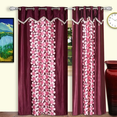 Dreaming Cotton Polyester Multicolor Floral Eyelet Door Curtain