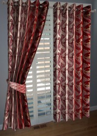 BNA Decor Polyester Red Abstract Eyelet Window Curtain