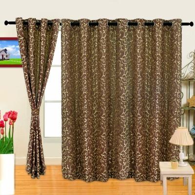 Cortina Polyester Brown Abstract Eyelet Long Door Curtain
