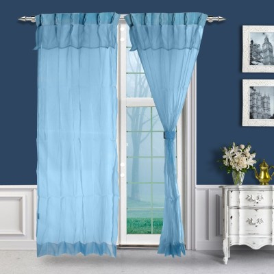 Just Linen Polyester Blue Solid Tab Top Door Curtain