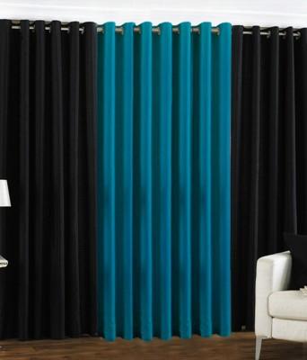 The Decor Hub Polyester Black, Aqua Plain Eyelet Door Curtain